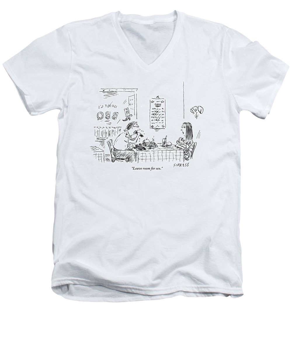 Food Men's V-Neck T-Shirt featuring the drawing A Woman With Her Arms Crossed Addresses by David Sipress