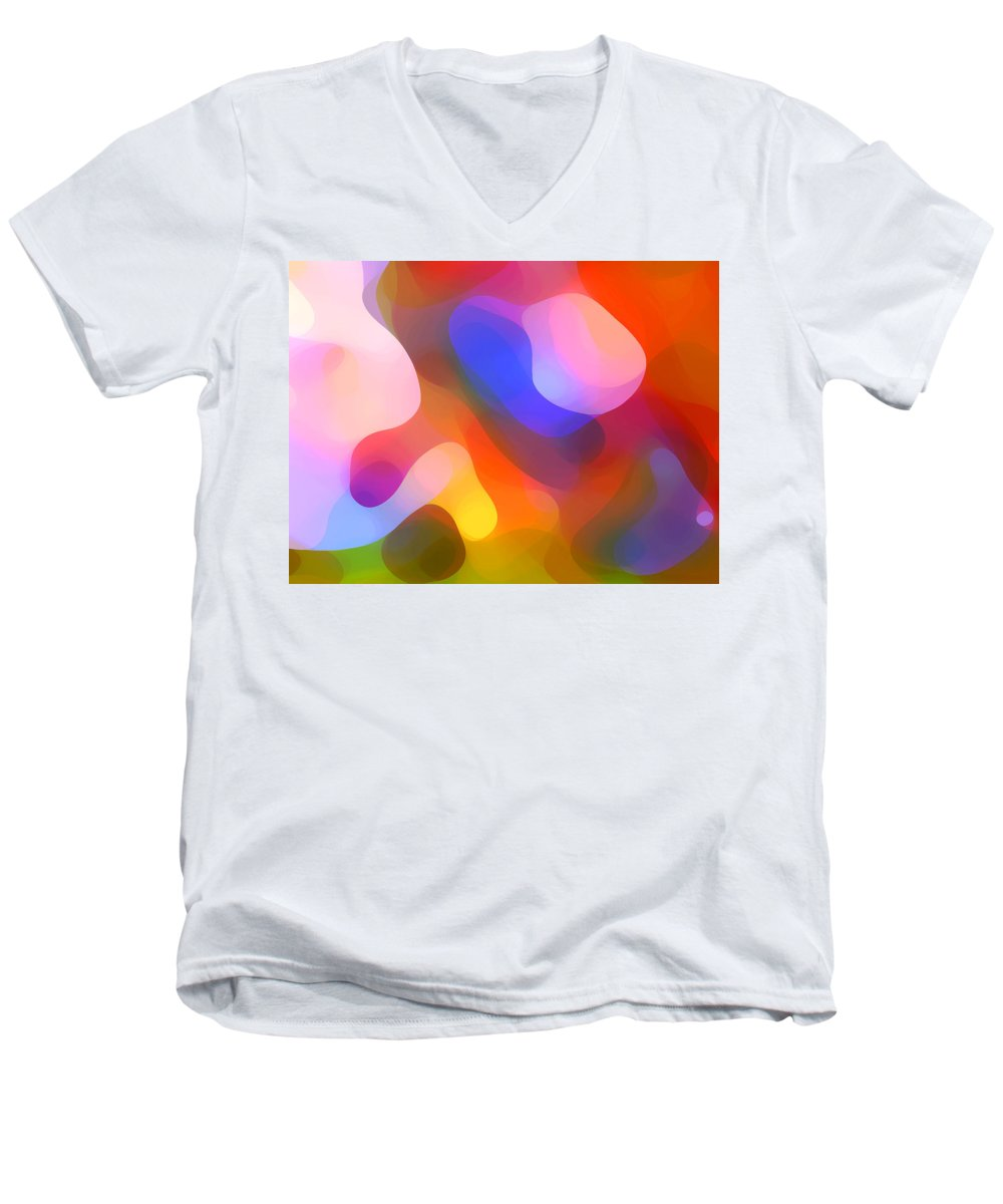 Abstract Art Men's V-Neck T-Shirt featuring the painting Abstract Dappled Sunlight by Amy Vangsgard
