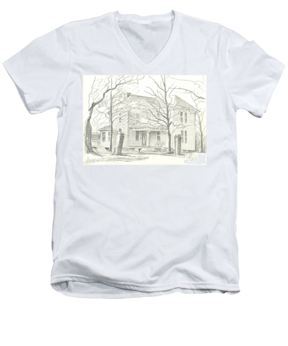 American Home Ii Men's V-Neck T-Shirt featuring the drawing American Home II by Kip DeVore