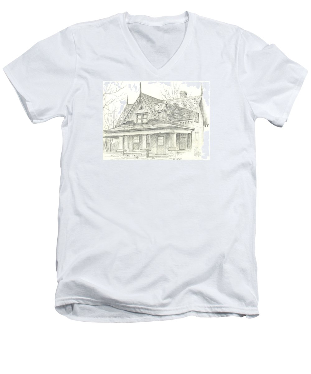 American Home Men's V-Neck T-Shirt featuring the drawing American Home by Kip DeVore