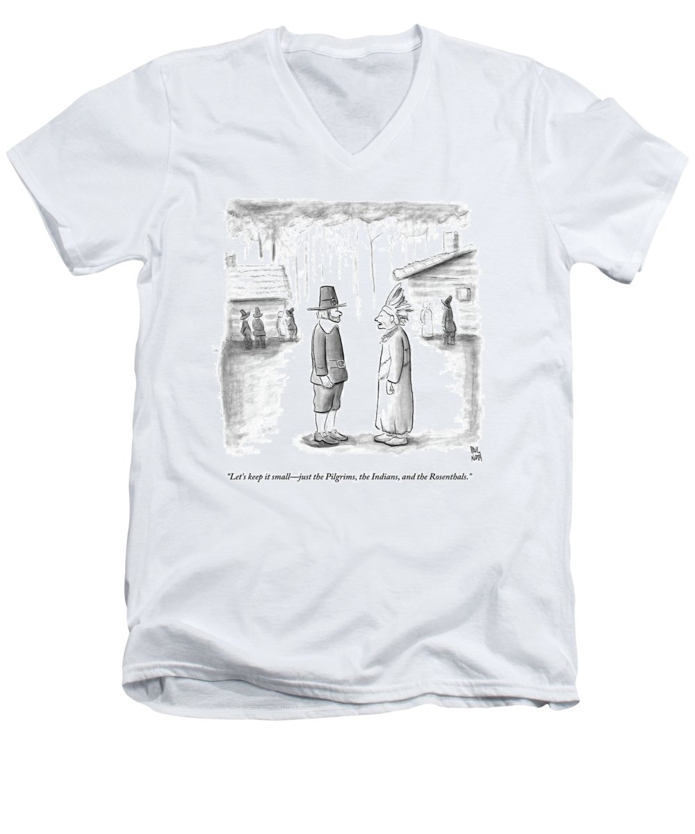 Thanksgiving Men's V-Neck T-Shirt featuring the drawing An Indian Chief Speaks To A Pilgrim by Paul Noth