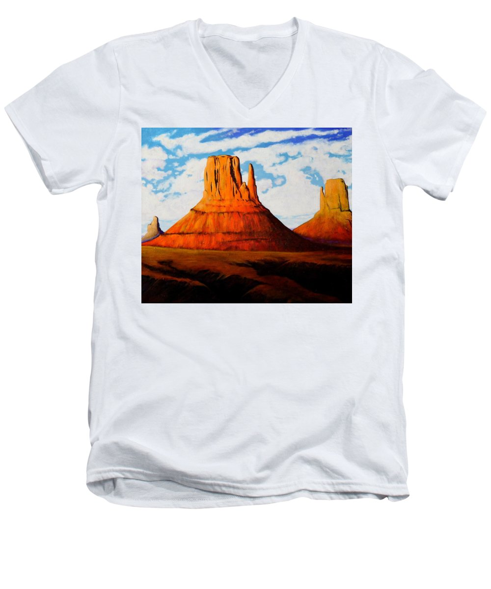 Landscape Of Western Usa Men's V-Neck T-Shirt featuring the painting Ancient Land Monument Valley by Joe Triano