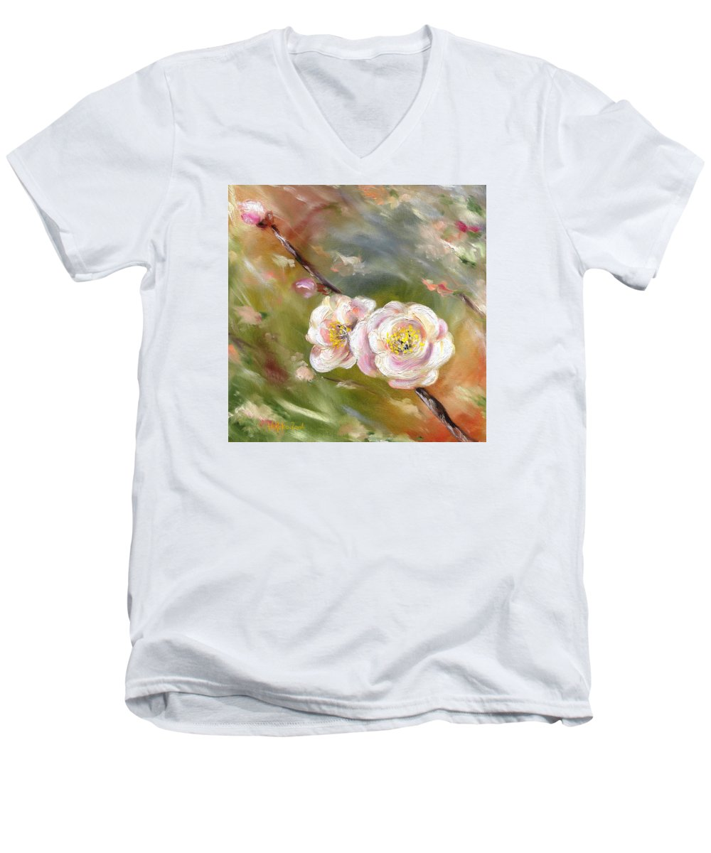 Flower Men's V-Neck T-Shirt featuring the painting Anniversary by Hiroko Sakai