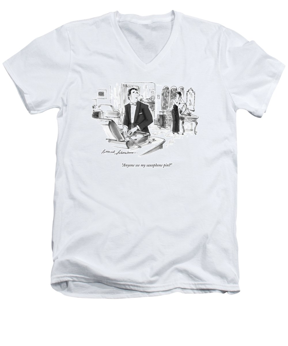 Government Men's V-Neck T-Shirt featuring the drawing Anyone See My Saxophone Pin? by Bernard Schoenbaum
