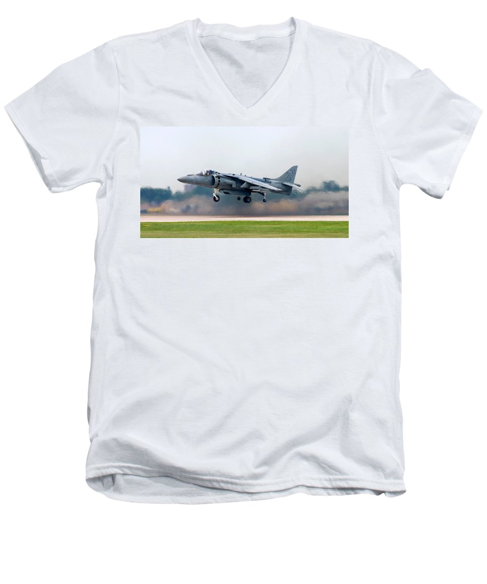 3scape Photos Men's V-Neck T-Shirt featuring the photograph Av-8b Harrier by Adam Romanowicz