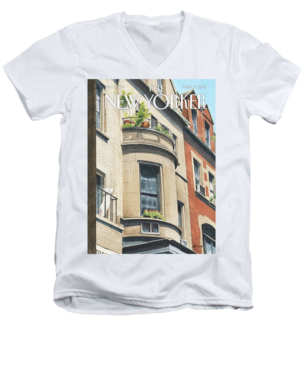 Dog Men's V-Neck T-Shirt featuring the painting Balcony Scene by Harry Bliss
