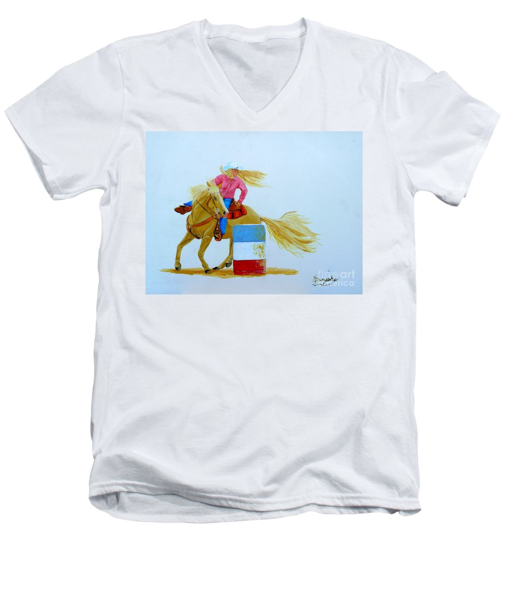 Rodeo Men's V-Neck T-Shirt featuring the painting Barrel Racer by Anthony Dunphy