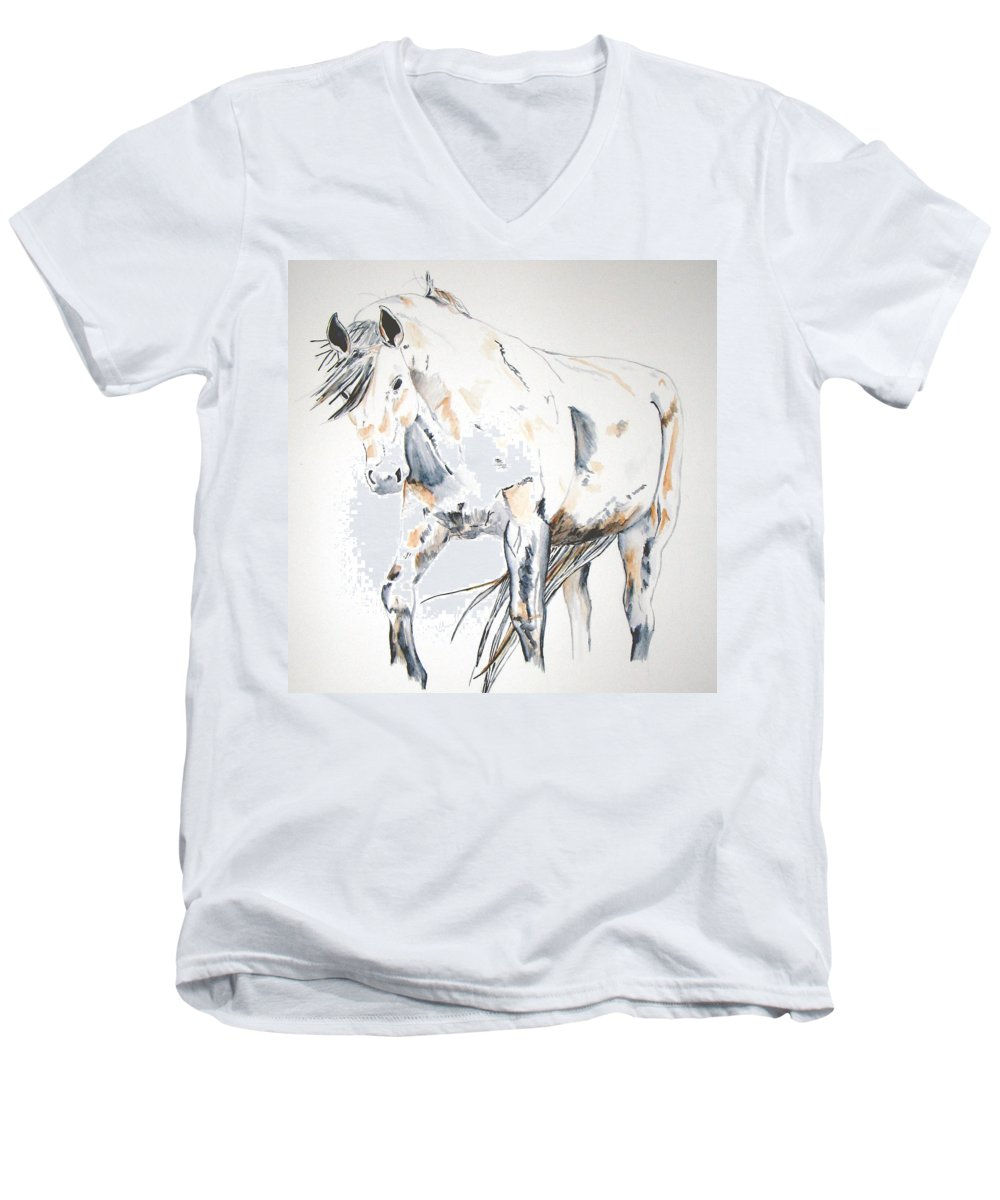Horse Men's V-Neck T-Shirt featuring the painting Beauty by Crystal Hubbard