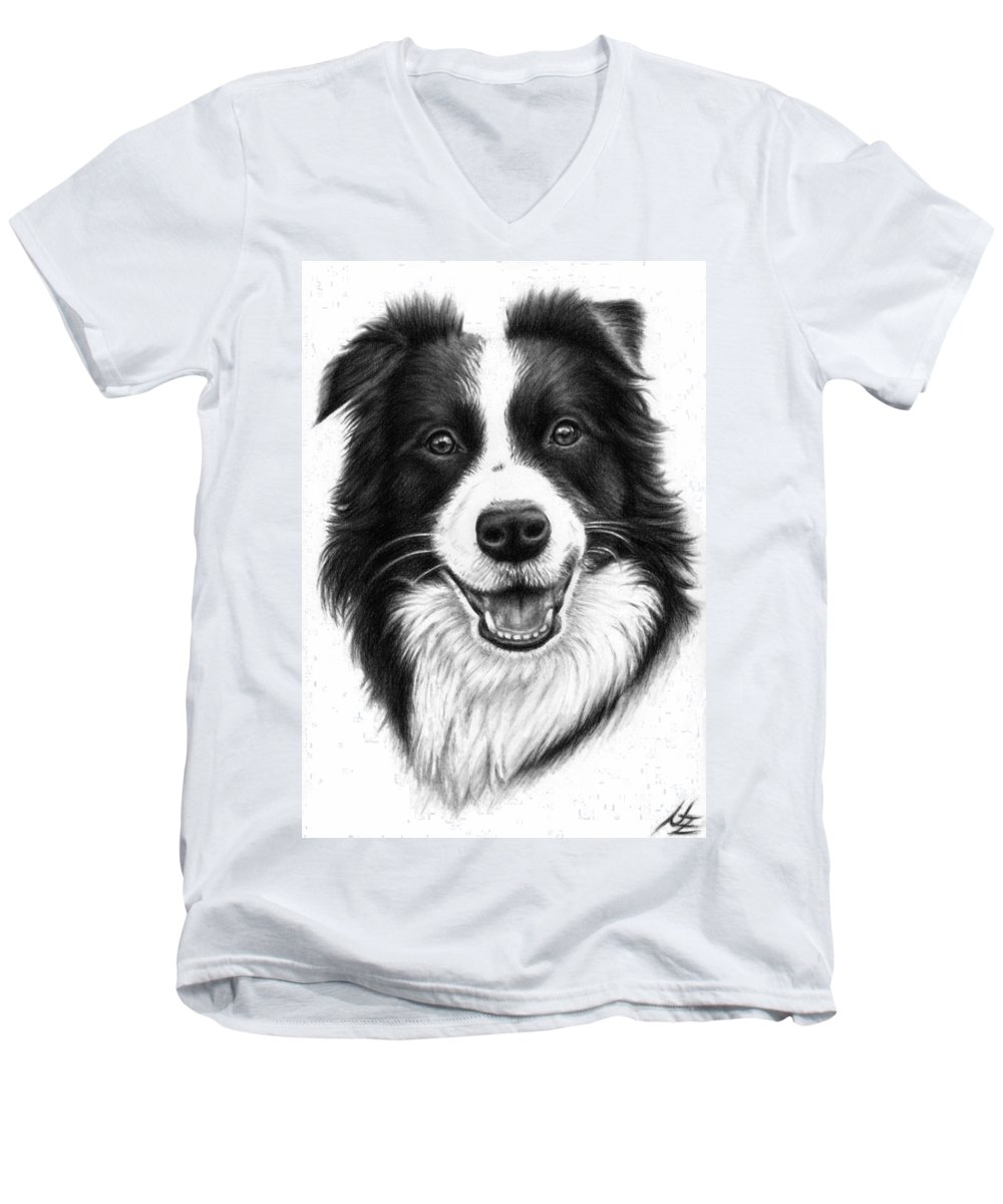 Dog Men's V-Neck T-Shirt featuring the drawing Border Collie by Nicole Zeug