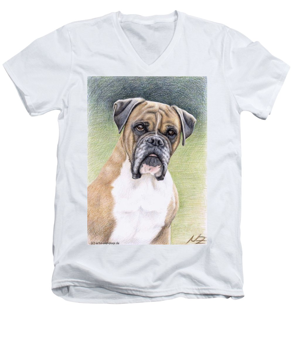 Dog Men's V-Neck T-Shirt featuring the drawing Boxer Portrait by Nicole Zeug