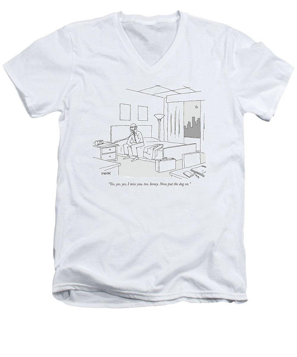 Relationships Pets Travel Problems  (businessman Sitting On A Bed In Hotel Room Talking On The Phone.) 121246 Jzi Jack Ziegler Topziegler Men's V-Neck T-Shirt featuring the drawing Businessman Sitting On A Bed In Hotel Room by Jack Ziegler