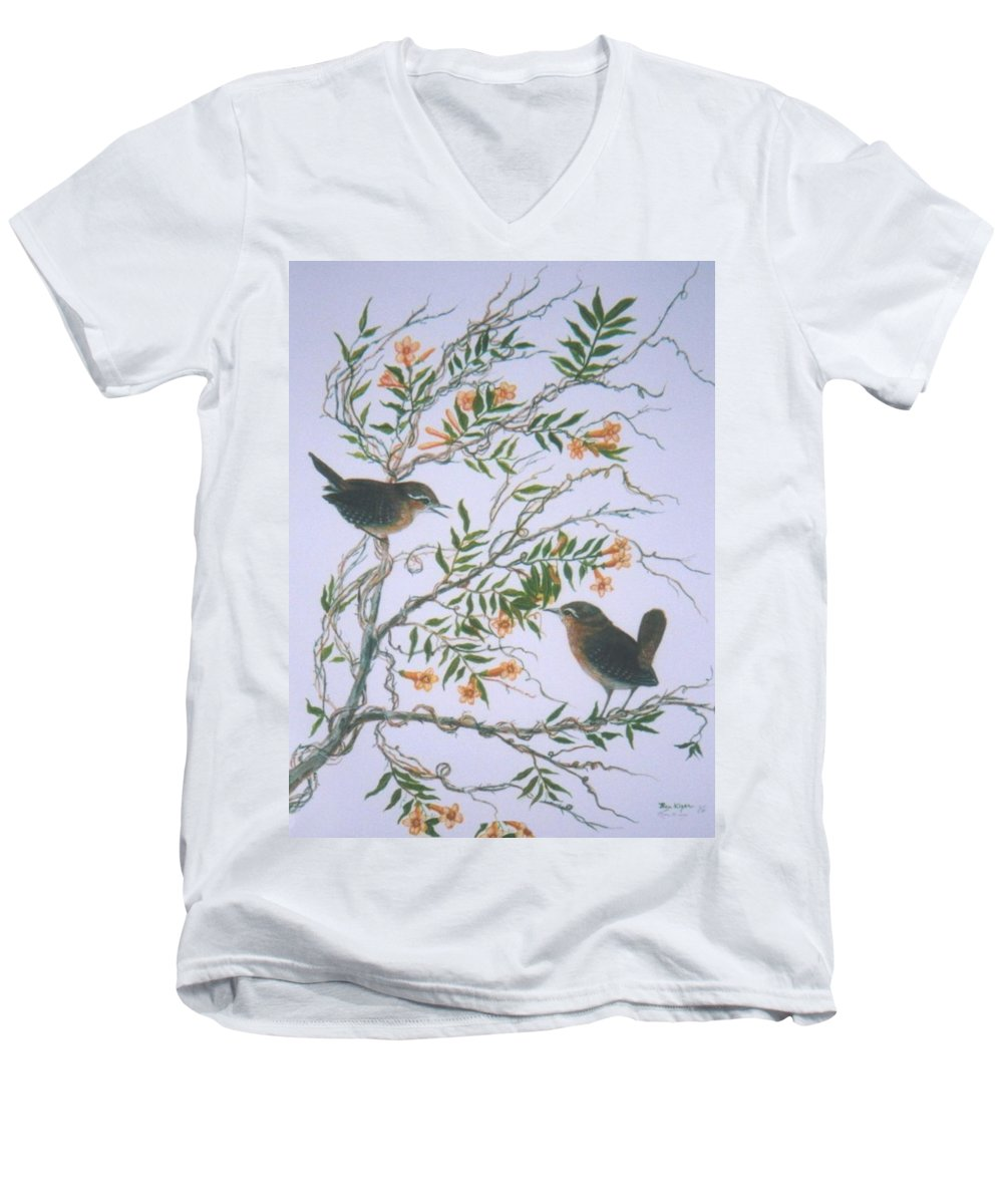 Bird; Flowers Men's V-Neck T-Shirt featuring the painting Carolina Wren And Jasmine by Ben Kiger
