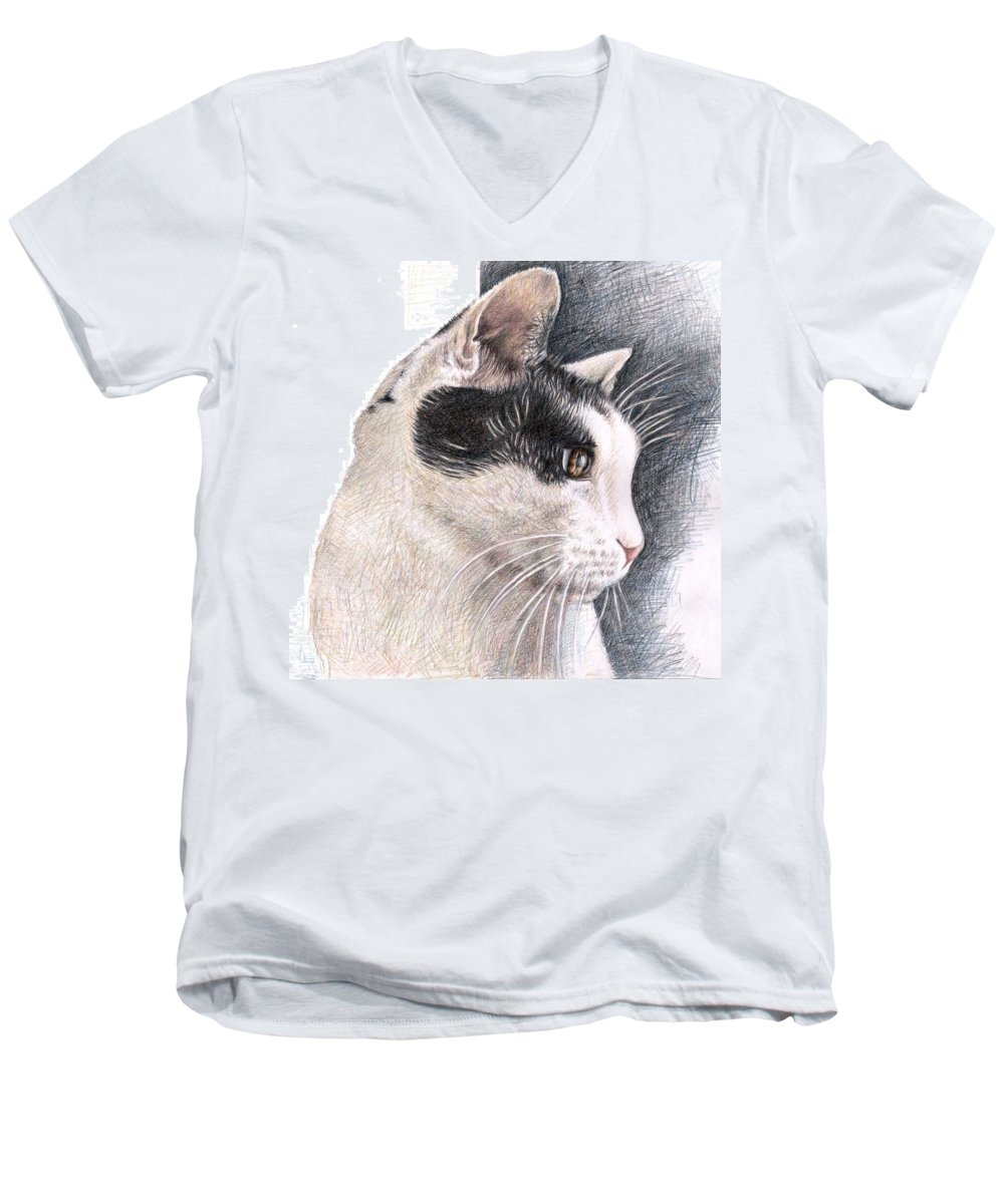 Cat Men's V-Neck T-Shirt featuring the drawing Cats View by Nicole Zeug
