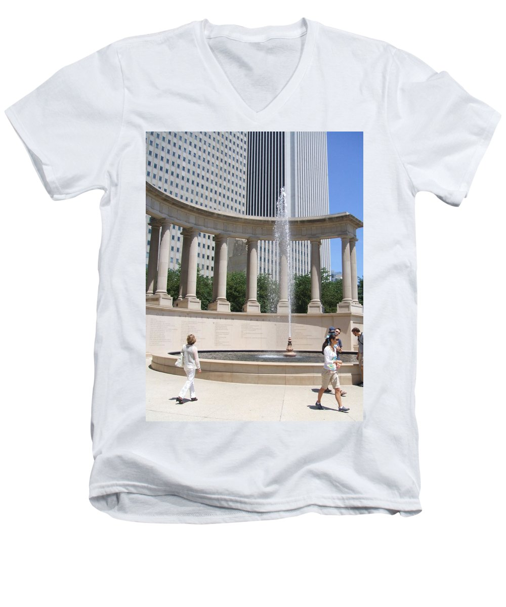 Chicago Men's V-Neck T-Shirt featuring the photograph Chicago Tourism by Minding My Visions by Adri and Ray