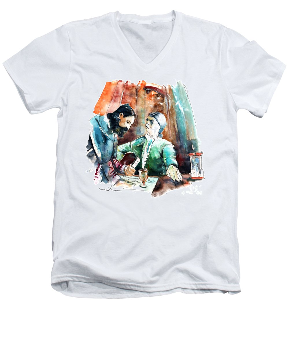 Portugal Men's V-Neck T-Shirt featuring the painting Conquistadores On The Boat In Vila Do Conde In Portugal by Miki De Goodaboom