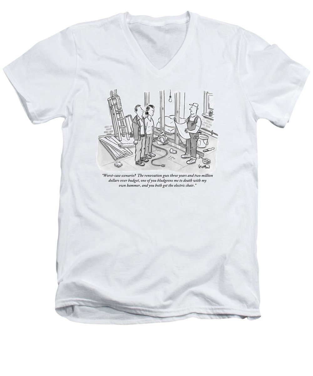 Renovation Men's V-Neck T-Shirt featuring the drawing Contractor Examining A Blueprint And Speaking by Robert Leighton
