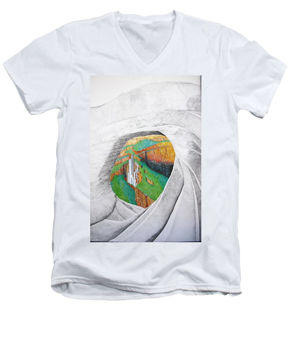 Rocks Men's V-Neck T-Shirt featuring the painting Cornered Stones by A Robert Malcom