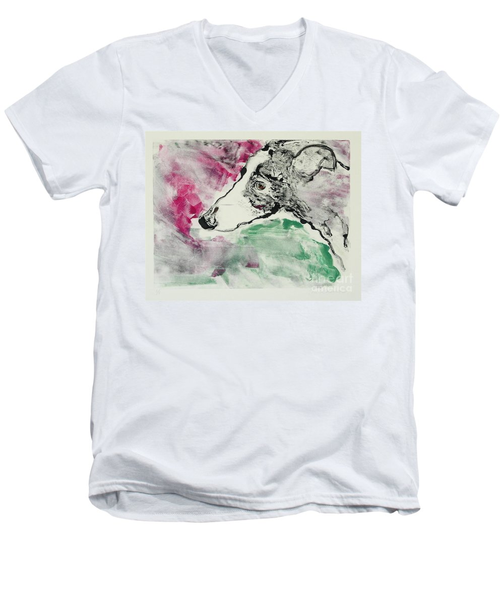 Greyhound Men's V-Neck T-Shirt featuring the painting Cyrus by Cori Solomon