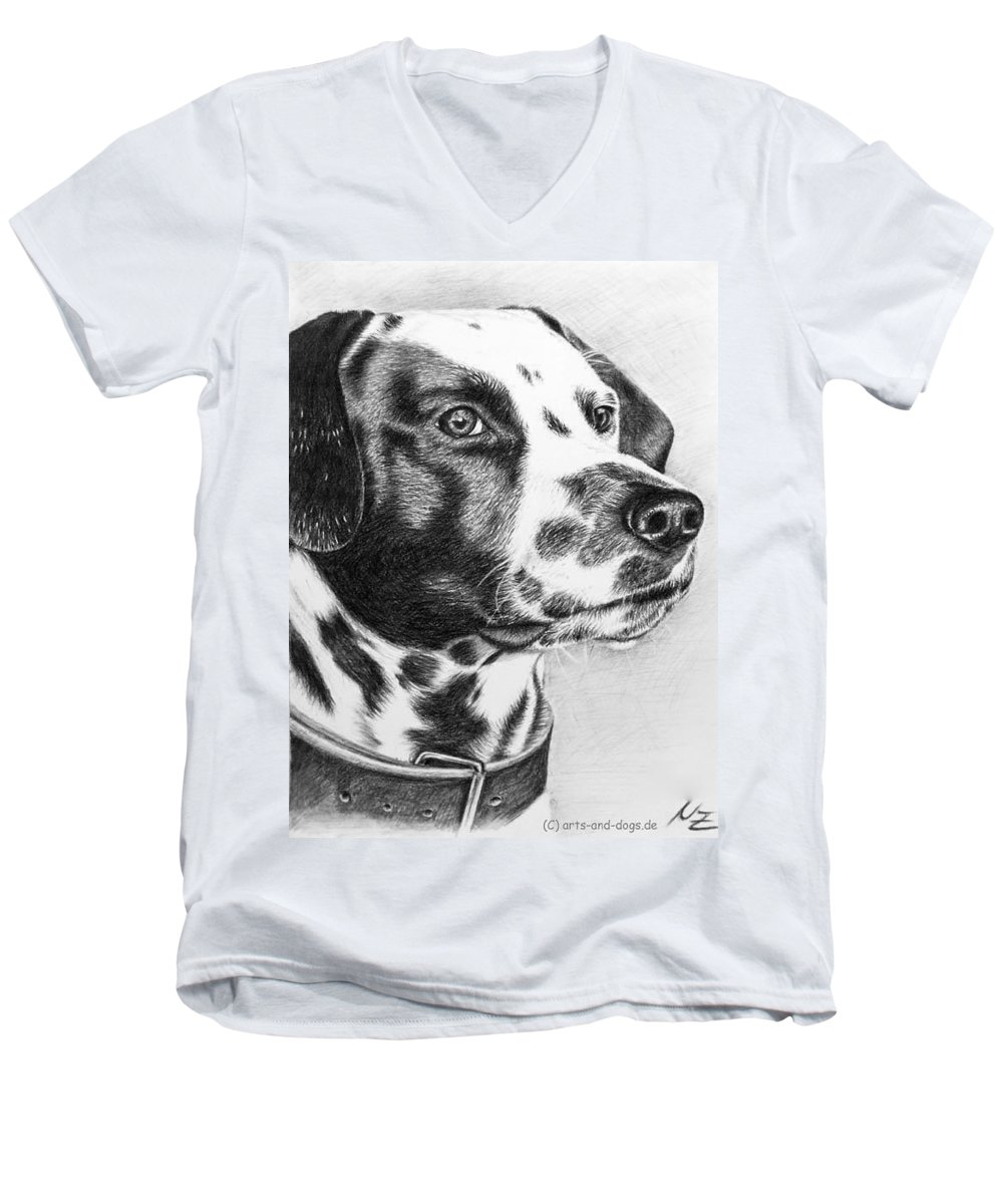 Dog Men's V-Neck T-Shirt featuring the drawing Dalmatian Portrait by Nicole Zeug