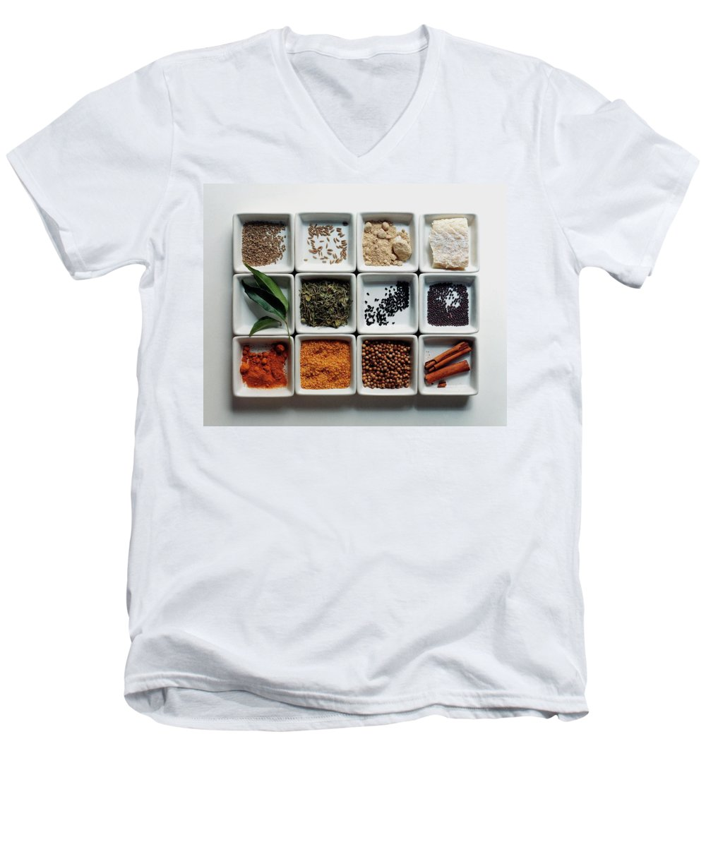 Cooking Men's V-Neck T-Shirt featuring the photograph Dishes Of Spices by Romulo Yanes