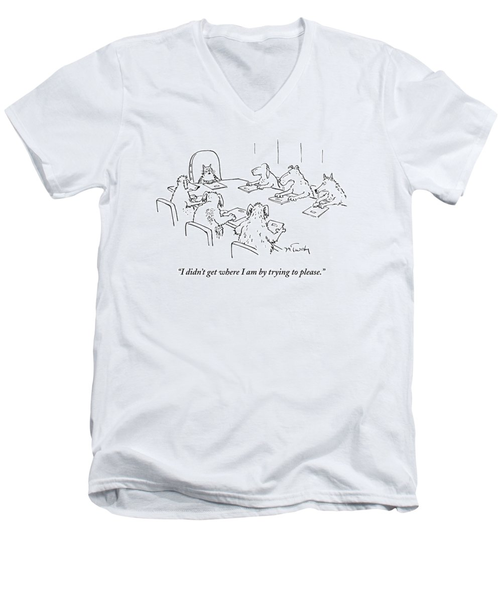 Caption Contest Tk Men's V-Neck T-Shirt featuring the drawing Dogs At A Meeting by Mike Twohy