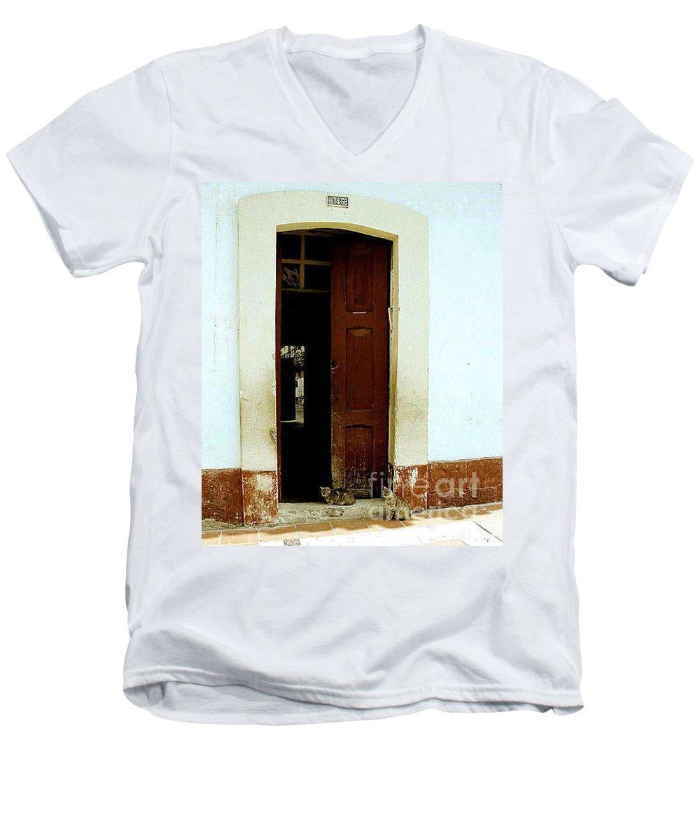 Cats Men's V-Neck T-Shirt featuring the photograph Dos Puertas Con Dos Gatos by Kathy McClure