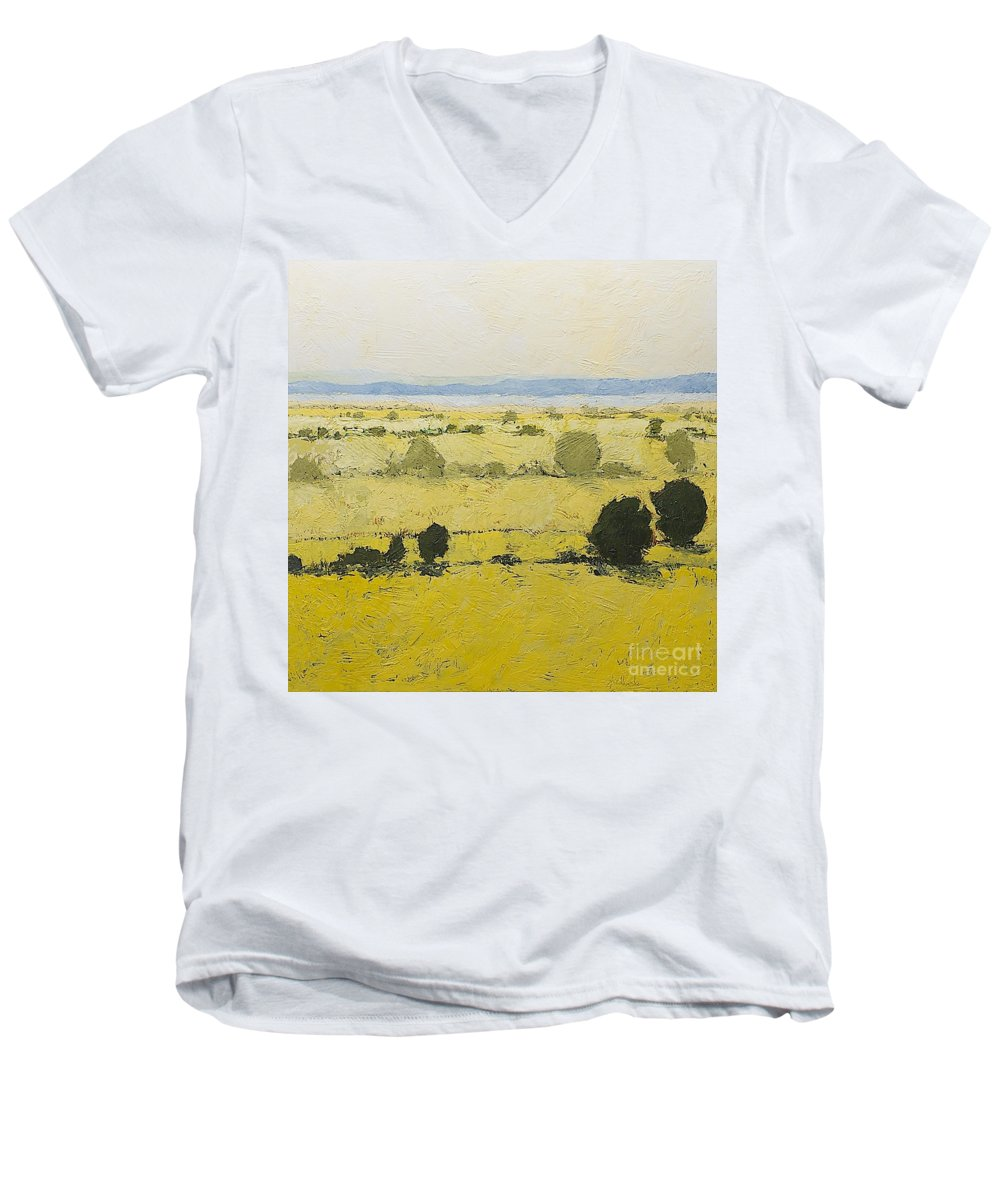 Landscape Men's V-Neck T-Shirt featuring the painting Dry Grass by Allan P Friedlander