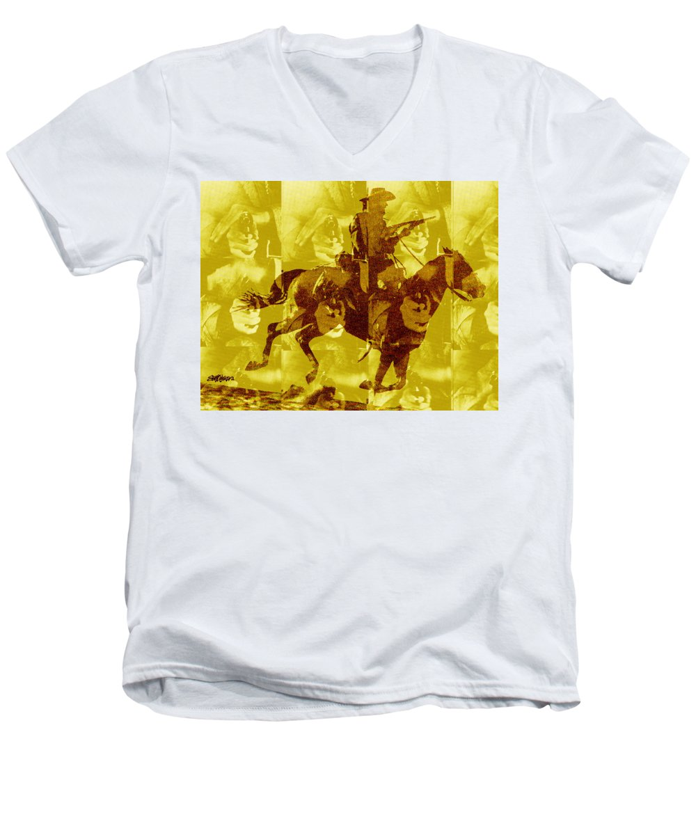 Clint Eastwood Men's V-Neck T-Shirt featuring the digital art Duel In The Saddle 1 by Seth Weaver
