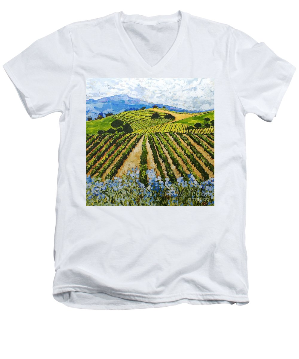 Landscape Men's V-Neck T-Shirt featuring the painting Early Crop by Allan P Friedlander