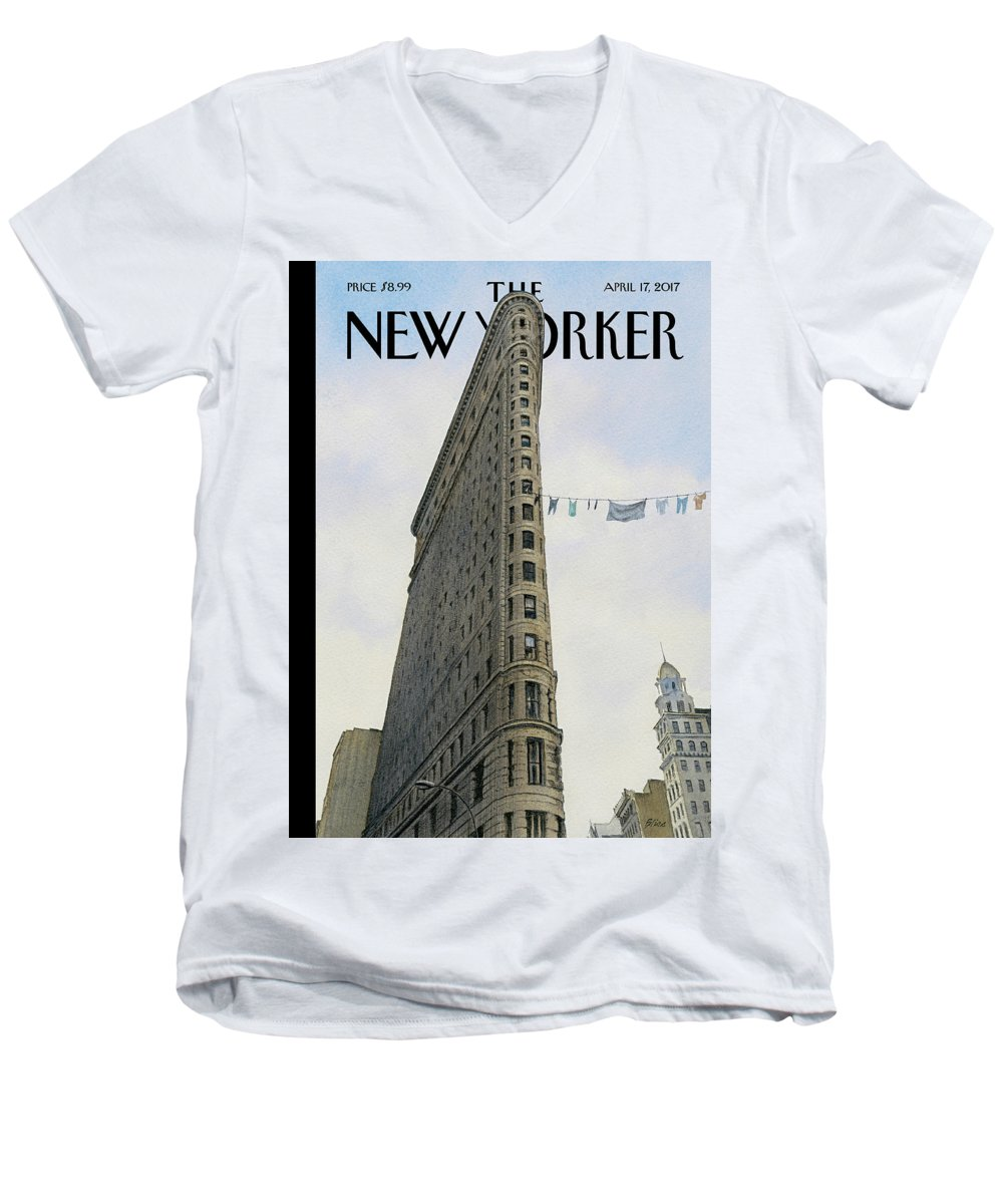 Fashion District Men's V-Neck T-Shirt featuring the painting Fashion District by Harry Bliss