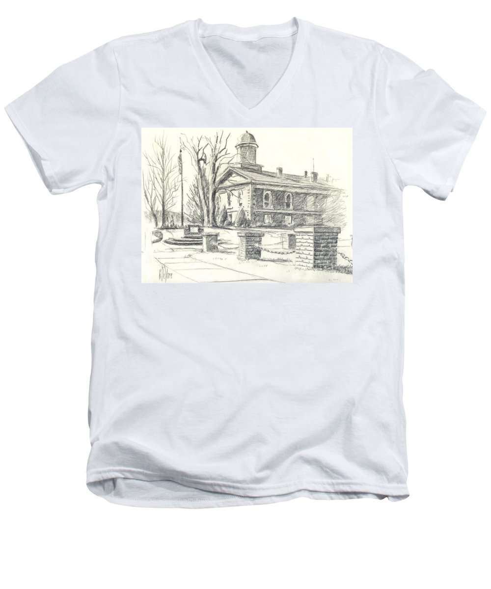 February Morning No Ctc102 Men's V-Neck T-Shirt featuring the drawing February Morning No Ctc102 by Kip DeVore