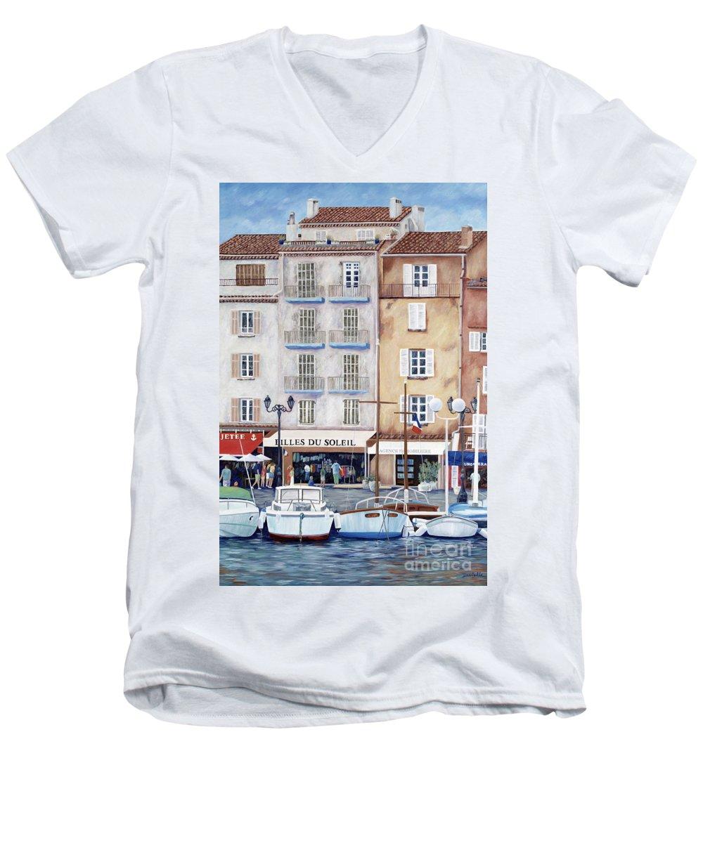 St. Tropez Men's V-Neck T-Shirt featuring the painting Filles Du Soleil by Danielle Perry