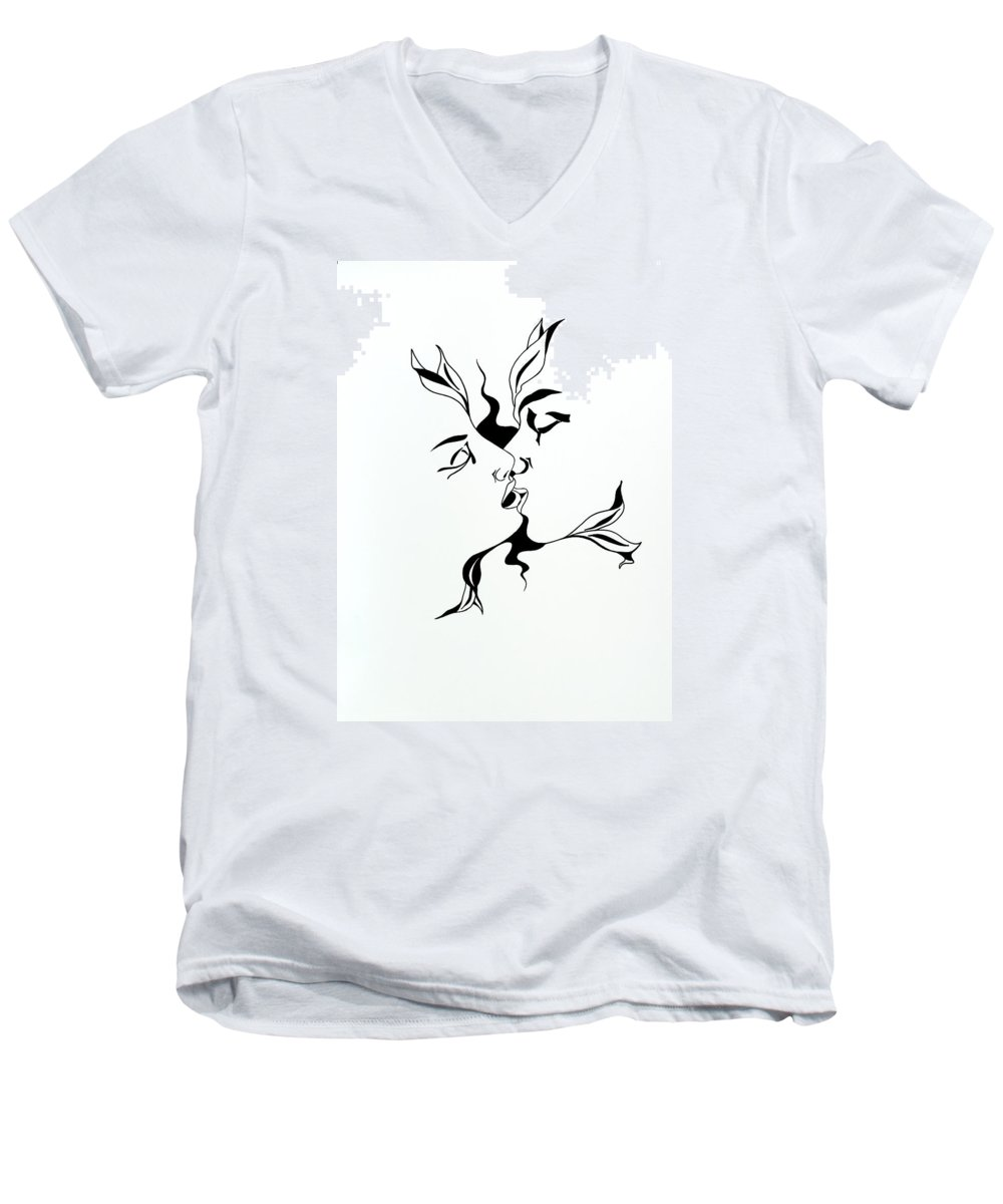 Love Men's V-Neck T-Shirt featuring the drawing First Kiss by Yelena Tylkina