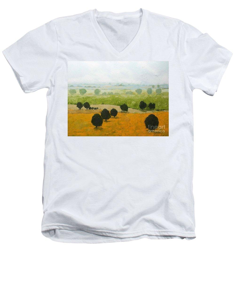 Landscape Men's V-Neck T-Shirt featuring the painting Fog Lifting Fast by Allan P Friedlander