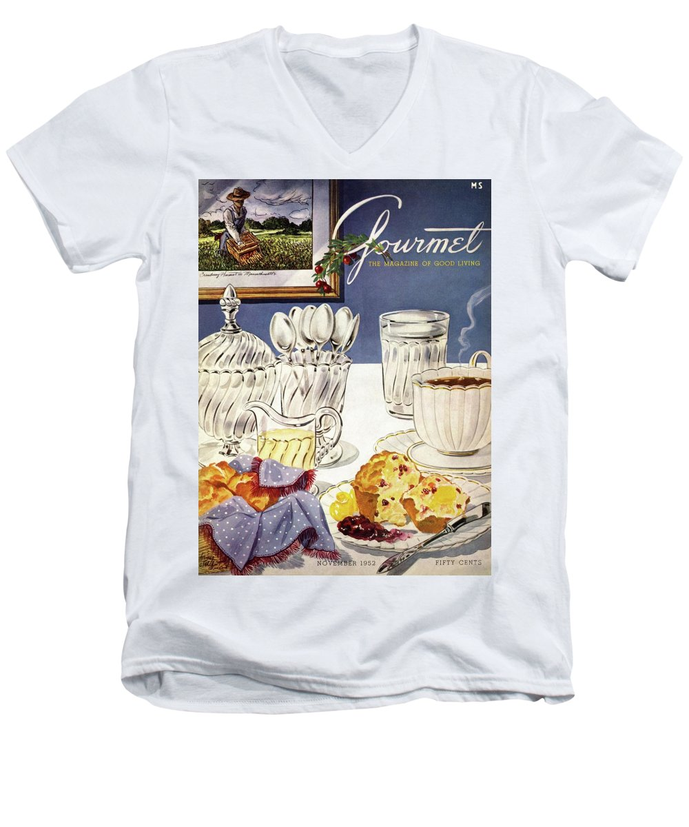 Food Men's V-Neck T-Shirt featuring the photograph Gourmet Cover Illustration Of Cranberry Muffins by Henry Stahlhut