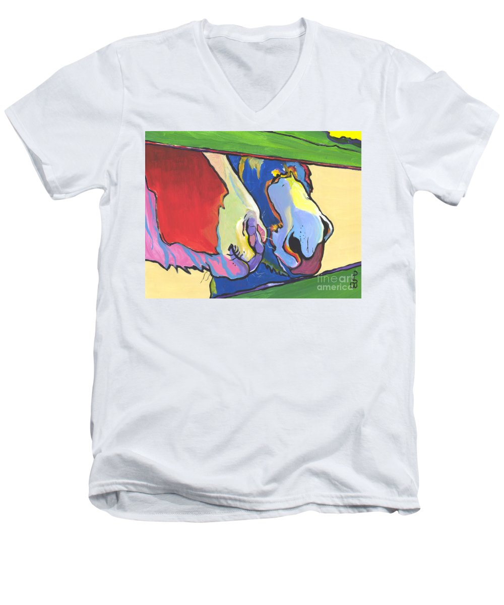 Pat Saunders-white Canvas Prints Men's V-Neck T-Shirt featuring the painting Green Fence by Pat Saunders-White