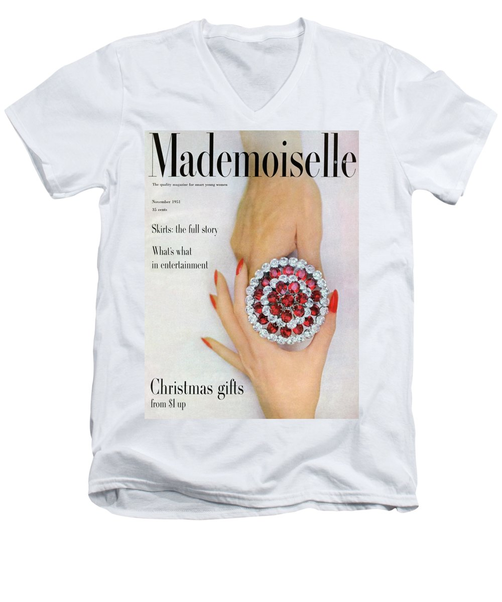 Fashion Men's V-Neck T-Shirt featuring the photograph Hands Holding A Coro Rhinestone Pin by Somoroff
