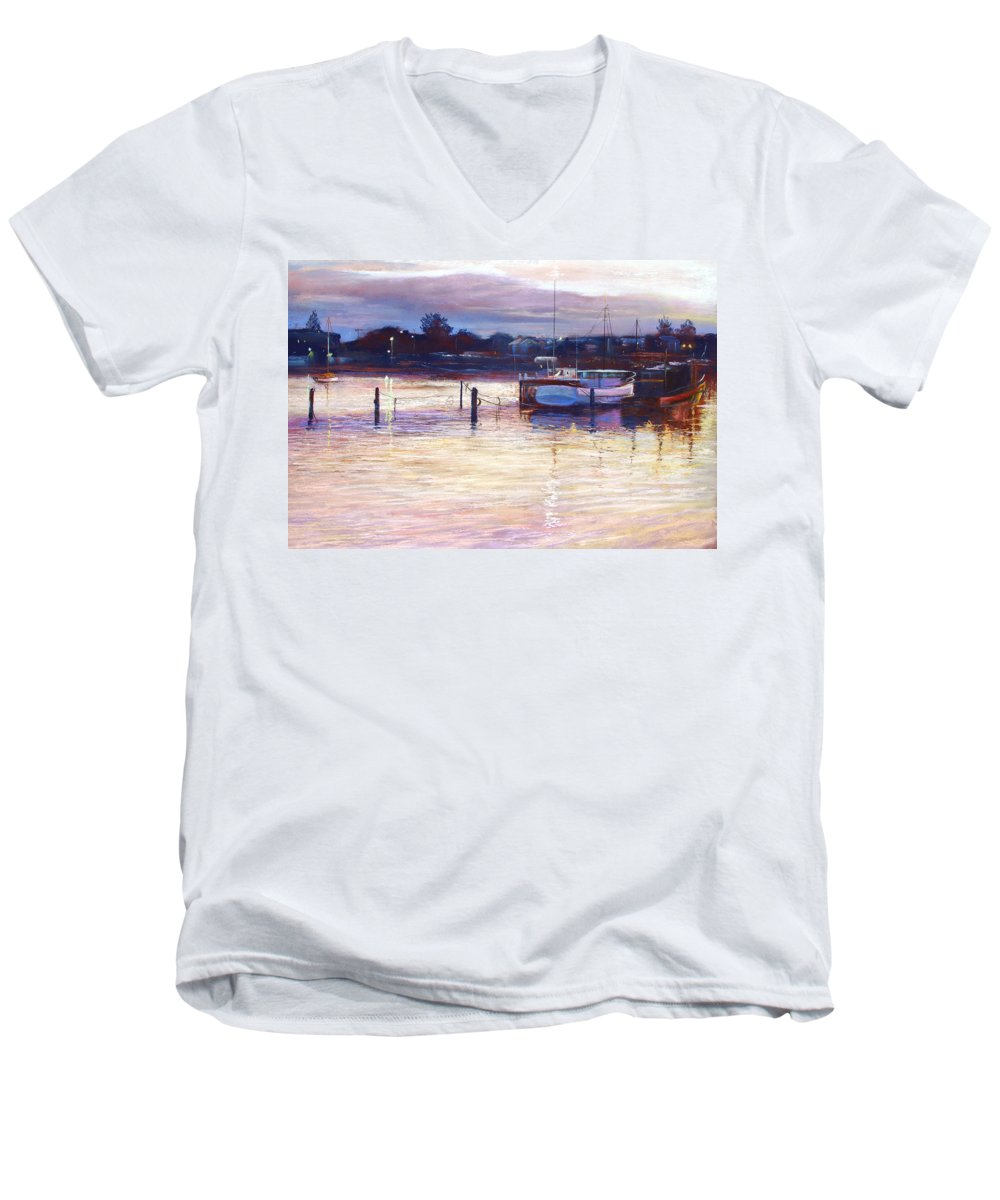 Lynda Robinson Men's V-Neck T-Shirt featuring the pastel Harbour Lights - Apollo Bay by Lynda Robinson
