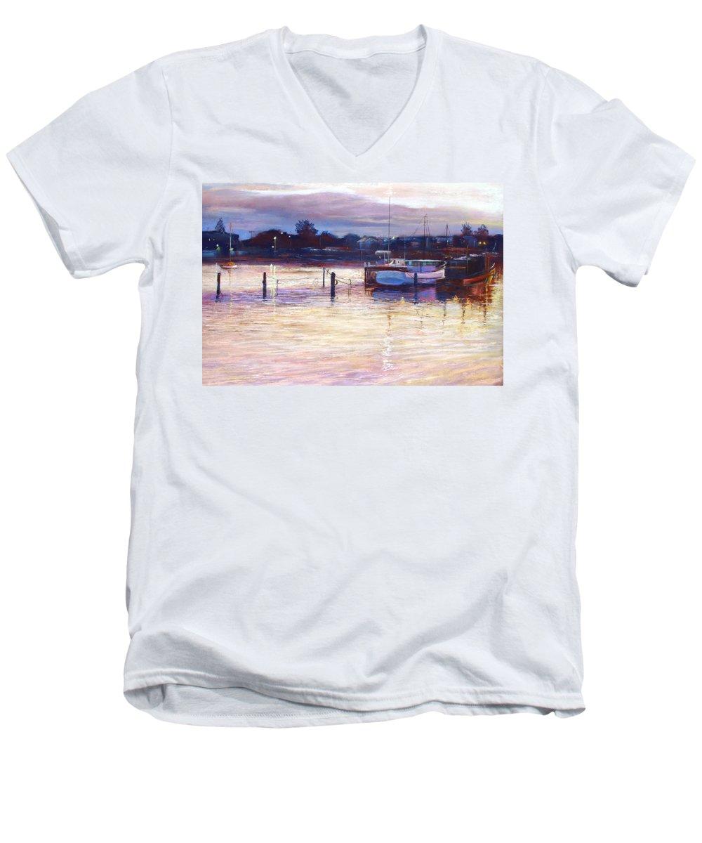 Lynda Robinson Men's V-Neck T-Shirt featuring the pastel Harbour Lights - Apollo Bay by Lynda Robinson