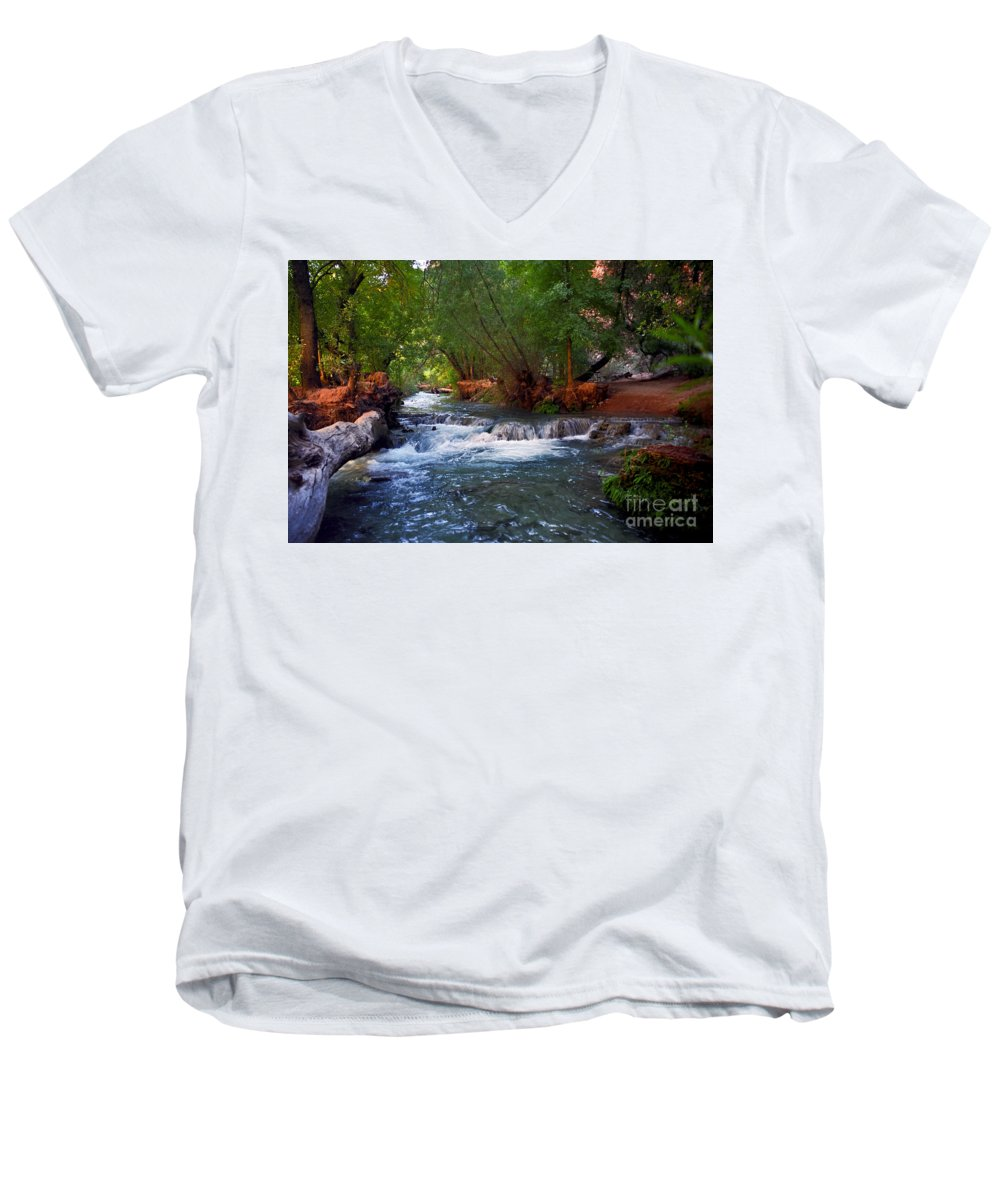 Arizona Men's V-Neck T-Shirt featuring the photograph Havasu Creek by Kathy McClure