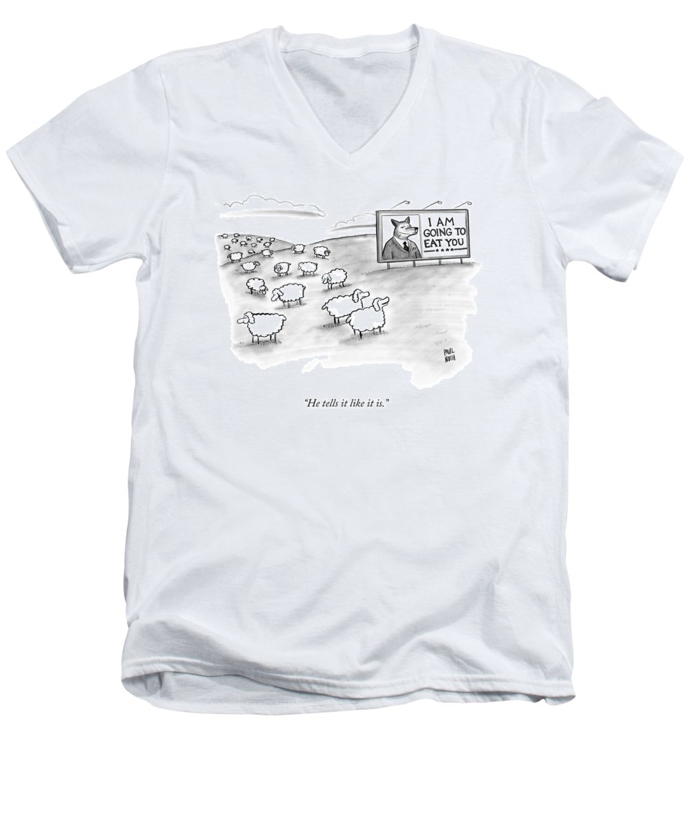Sheep Men's V-Neck T-Shirt featuring the drawing He Tells It Like It Is by Paul Noth