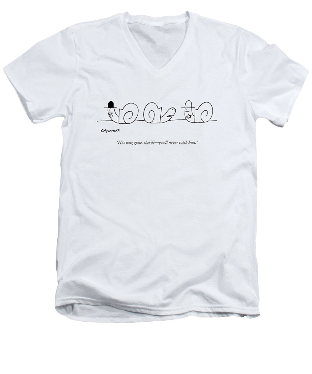 Cowboys Men's V-Neck T-Shirt featuring the drawing He's Long Gone by Charles Barsotti