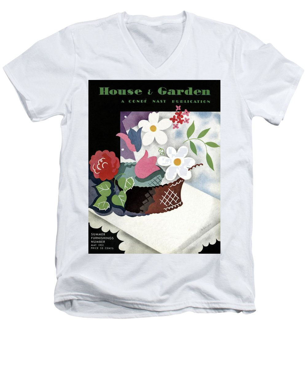 House And Garden Men's V-Neck T-Shirt featuring the photograph House And Garden Summer Furnishings Number Cover by Raymond Bret-Koch