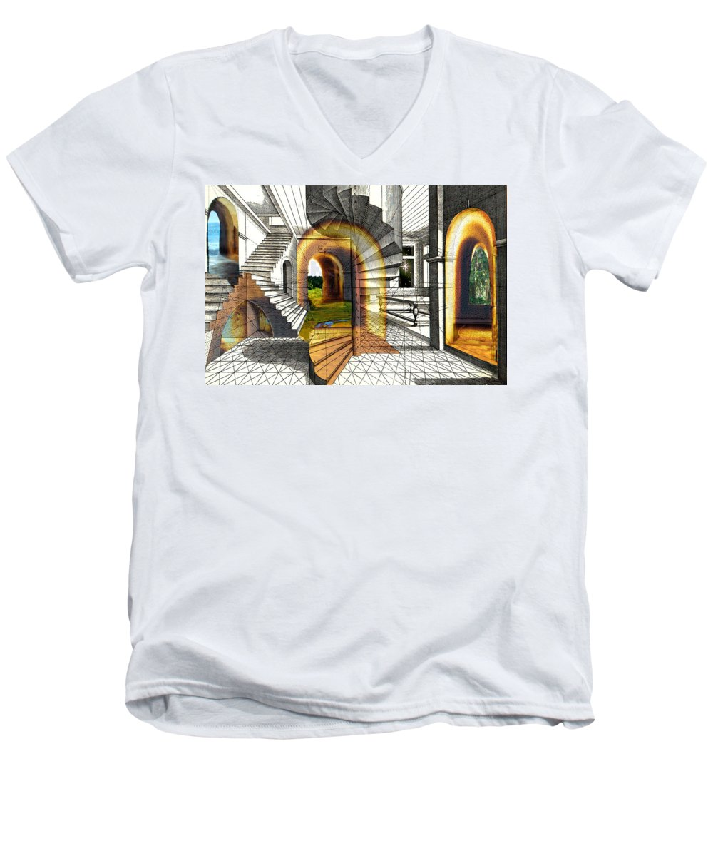 House Men's V-Neck T-Shirt featuring the digital art House Of Dreams by Lisa Yount