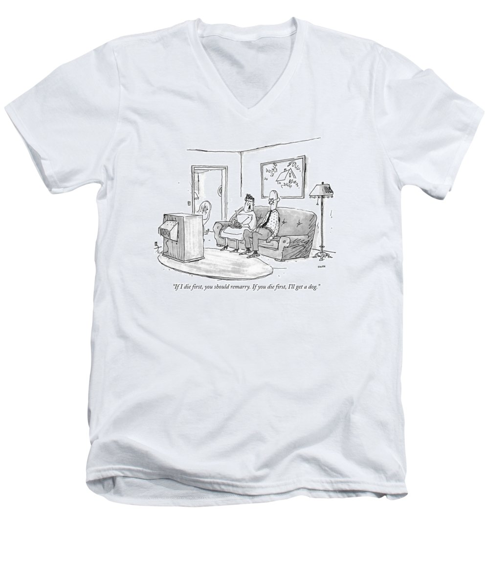 Death Men's V-Neck T-Shirt featuring the drawing If I Die First by George Booth