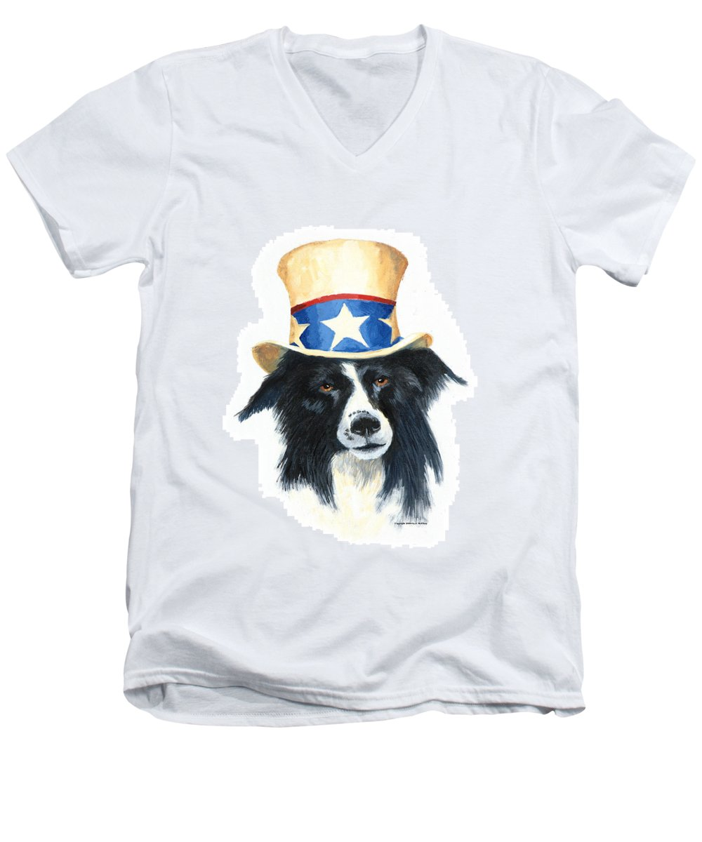 Dog Men's V-Neck T-Shirt featuring the painting In Dog We Trust by Jerry McElroy