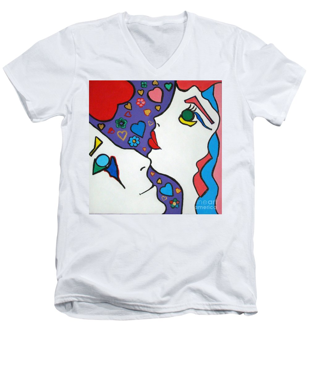 Pop-art Men's V-Neck T-Shirt featuring the painting In Love by Silvana Abel