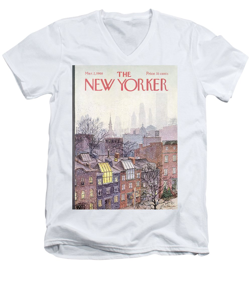 Albert Hubbell Ahu Men's V-Neck T-Shirt featuring the painting New Yorker March 2, 1968 by Albert Hubbell