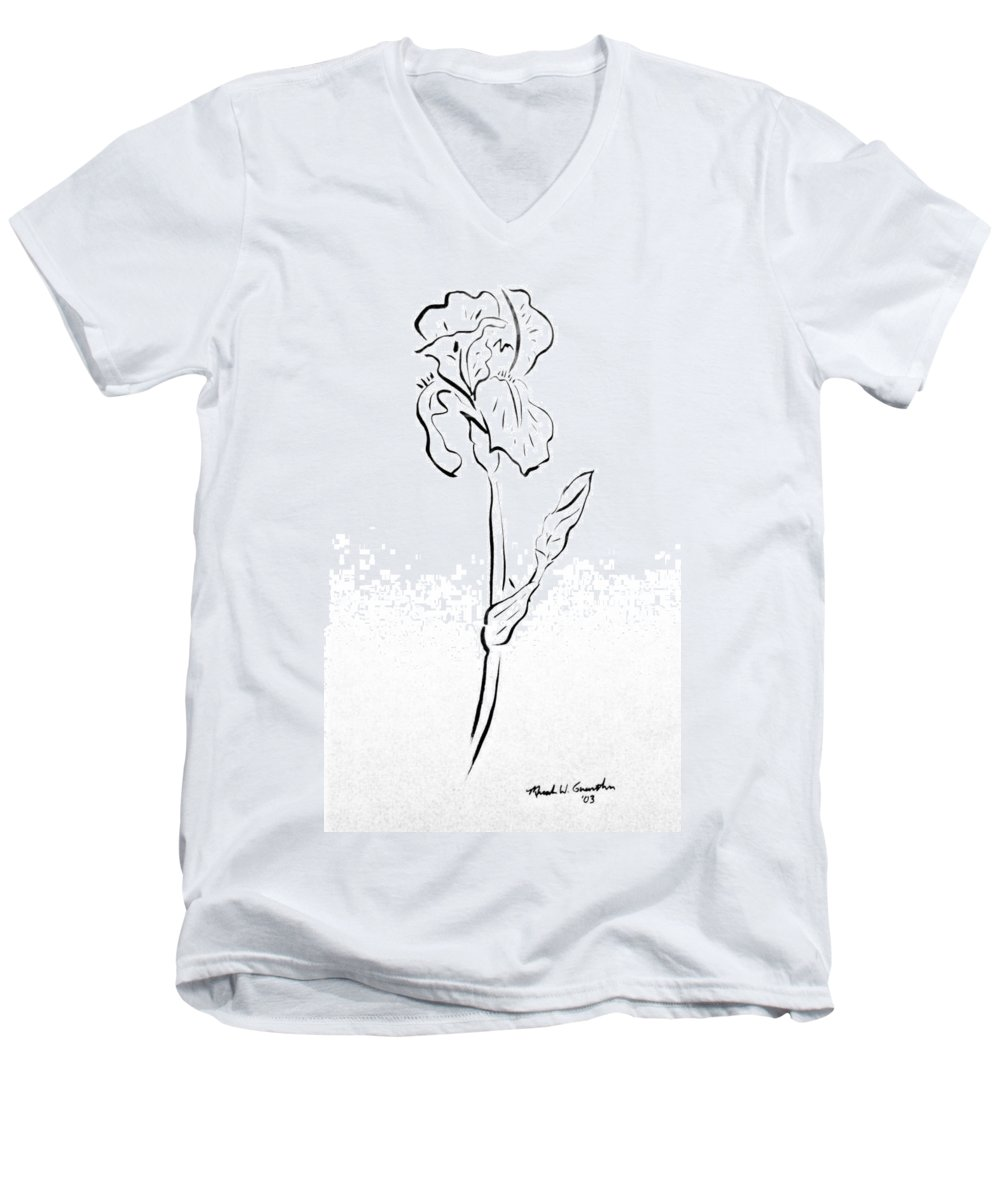 Abstract Men's V-Neck T-Shirt featuring the drawing Iris II by Micah Guenther