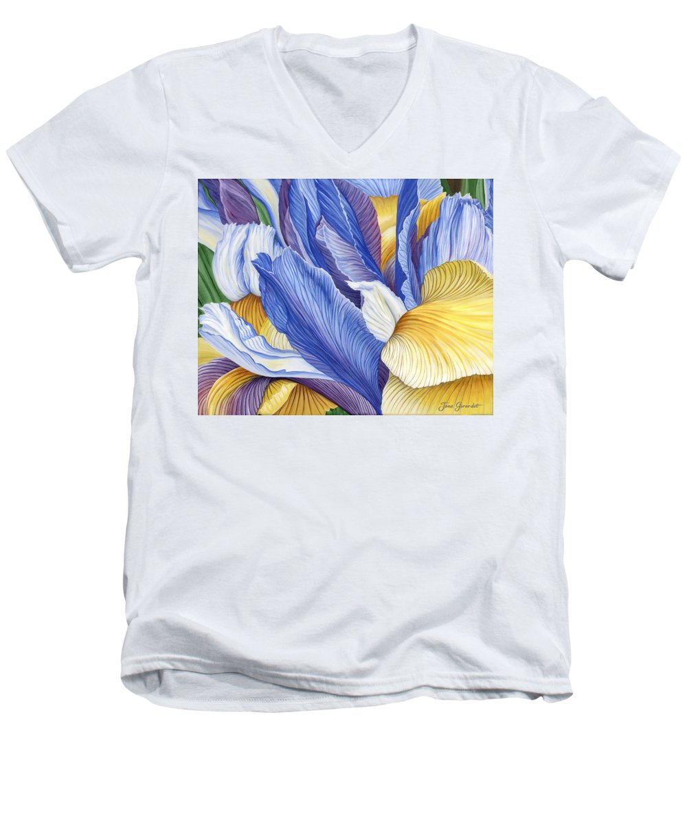 Iris Men's V-Neck T-Shirt featuring the painting Iris by Jane Girardot